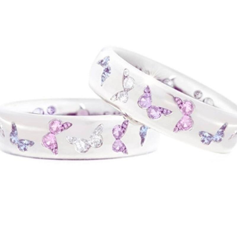 Anel de diamante de borboleta requintado feminino natural de duas cores safira rosa anel moda jóias de casamento