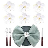 612pcs white flower napkin rings elegant napkin rings dining decor for wedding christmas party banquet family dinner decoration