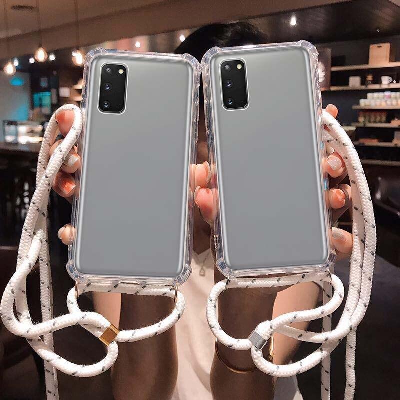 Correa cruzada de hombro de TPU para Samsung Galaxy A70, A50, A30, A40, S9, S10, 5G, J4, J6 Plus, M40, M30S, A7, A9, Note 10, collar, funda de cuerda