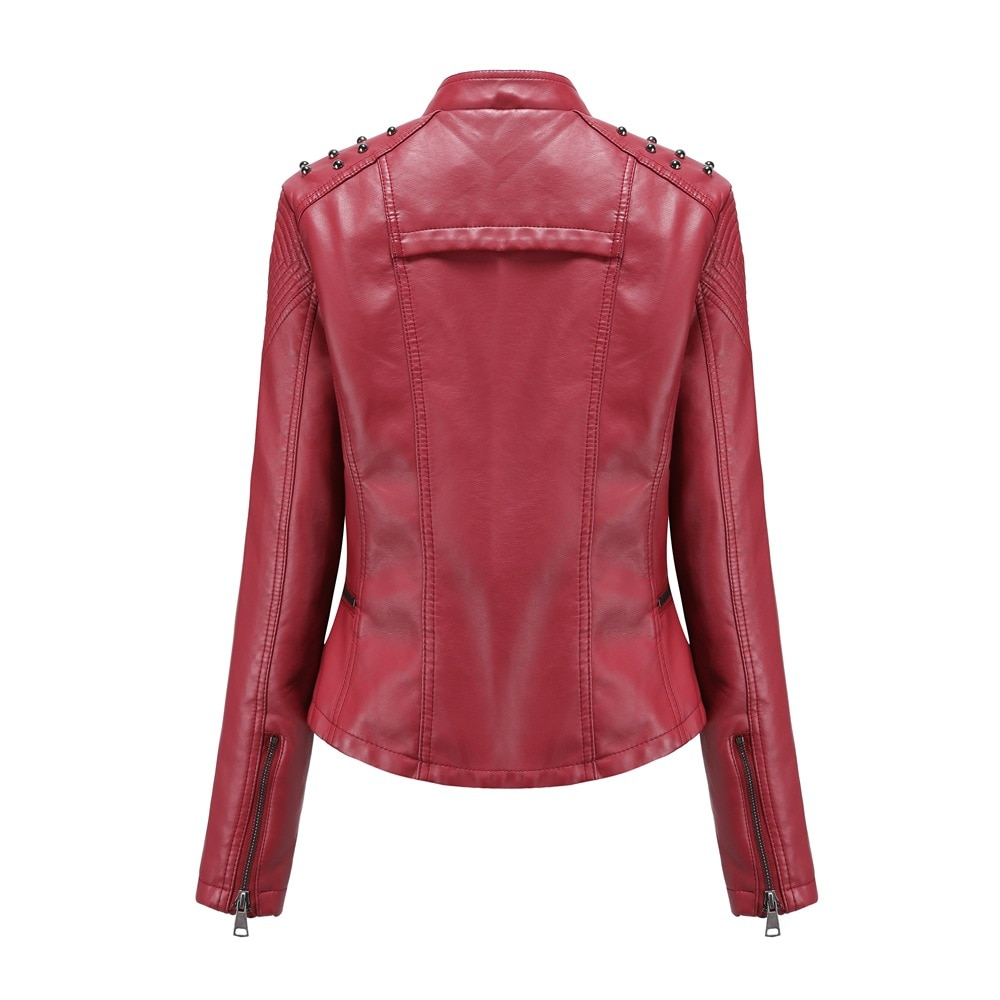 2020 new self-fitting spring and autumn women's leather jacket women jacket self-fitting thin coat women's locomotive suit enlarge