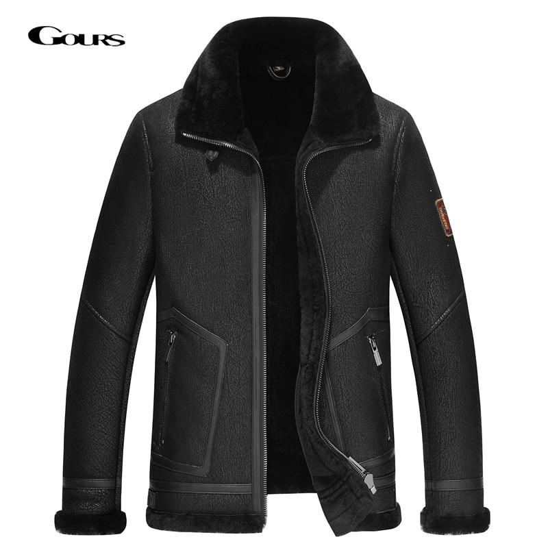 Gors الشتاء سترات من الجلد الحقيقي الرجال موضة الأسود حقيقية القص معطف جلد الغنم مع الصوف الطبيعي بطانة دافئة موتو GSJF2035