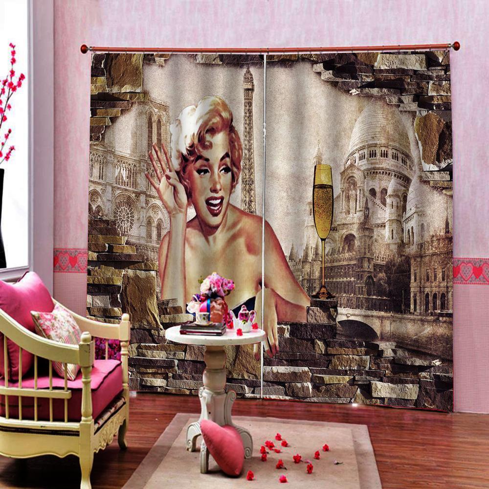 Cartel retro europeo cortina de ventana de pared de salón cortinas opacas de caracteres para Decoración de cocina KTV Hotel