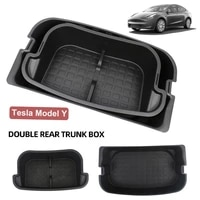 for tesla model y trunk storage box double deck luggage organizer dustproof cargo bag multi functional container car accessories