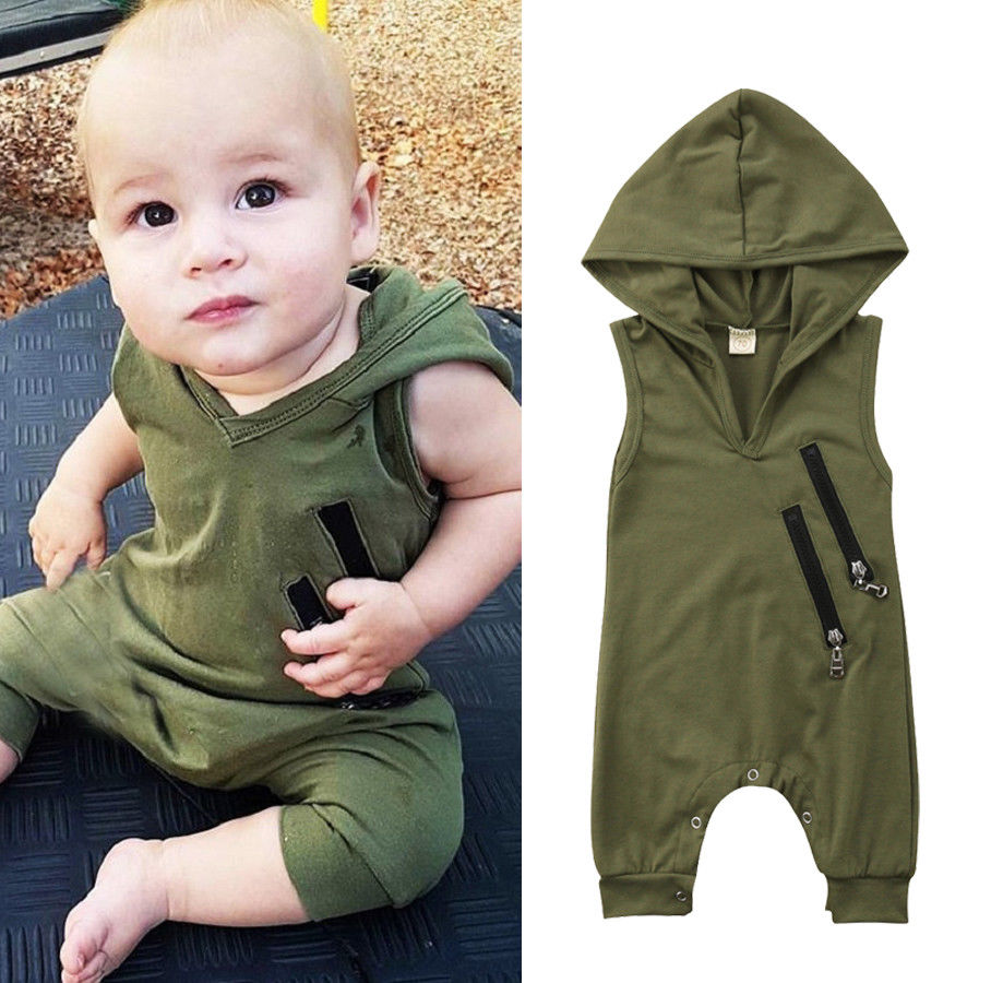 Newborn Toddler Baby Girls Boys Summer Casual Active Romper Sleeveless Hooded Solid Zipper Jumpsuits Romper 0-24M
