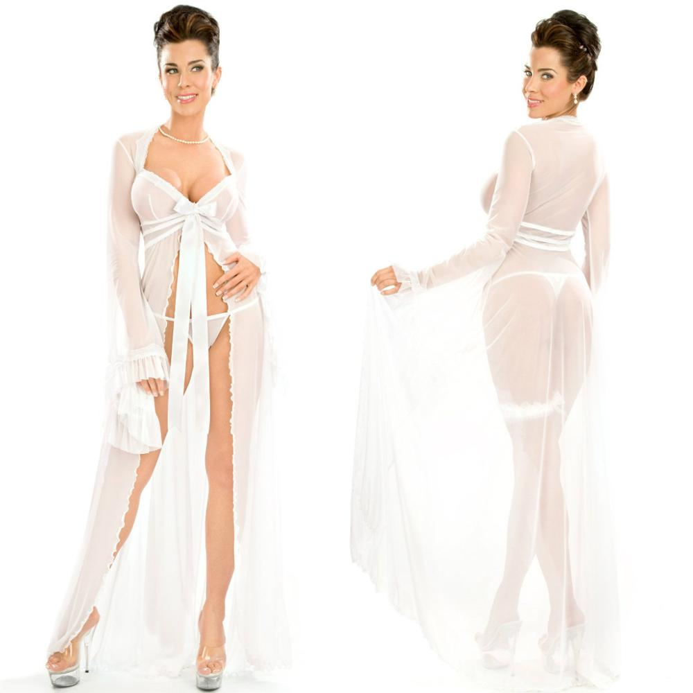 Blanco Sexy mujer ropa de dormir de manga larga Lencería de gasa bata de baño barato encaje ropa de dormir Babydoll bata vestidos