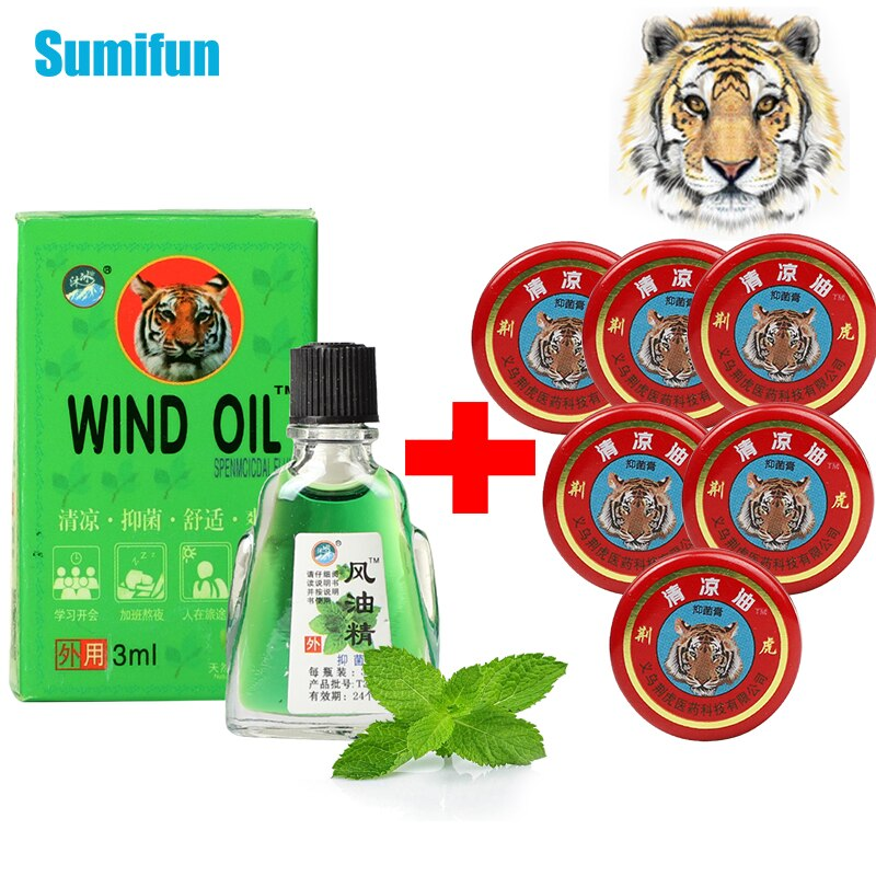 6pcs/Sets Tiger Balm Refreshing Oil For Anti-Itching Headache Dizziness Medicinal Oil Pain Rheumatism Abdominal Pain Relief Oil cool and refreshing oil adjustable artemisia oil mosquitoes itching drive midge moxibustion moxibustion partner cream