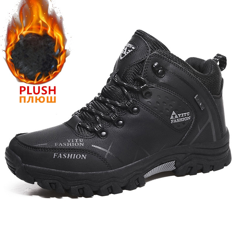 Bottes de neige étanches en cuir pour homme, baskets de marque très chaudes, pour randonnée en extérieur ou le travail, à porter en hiver, tailles 39 à 47
