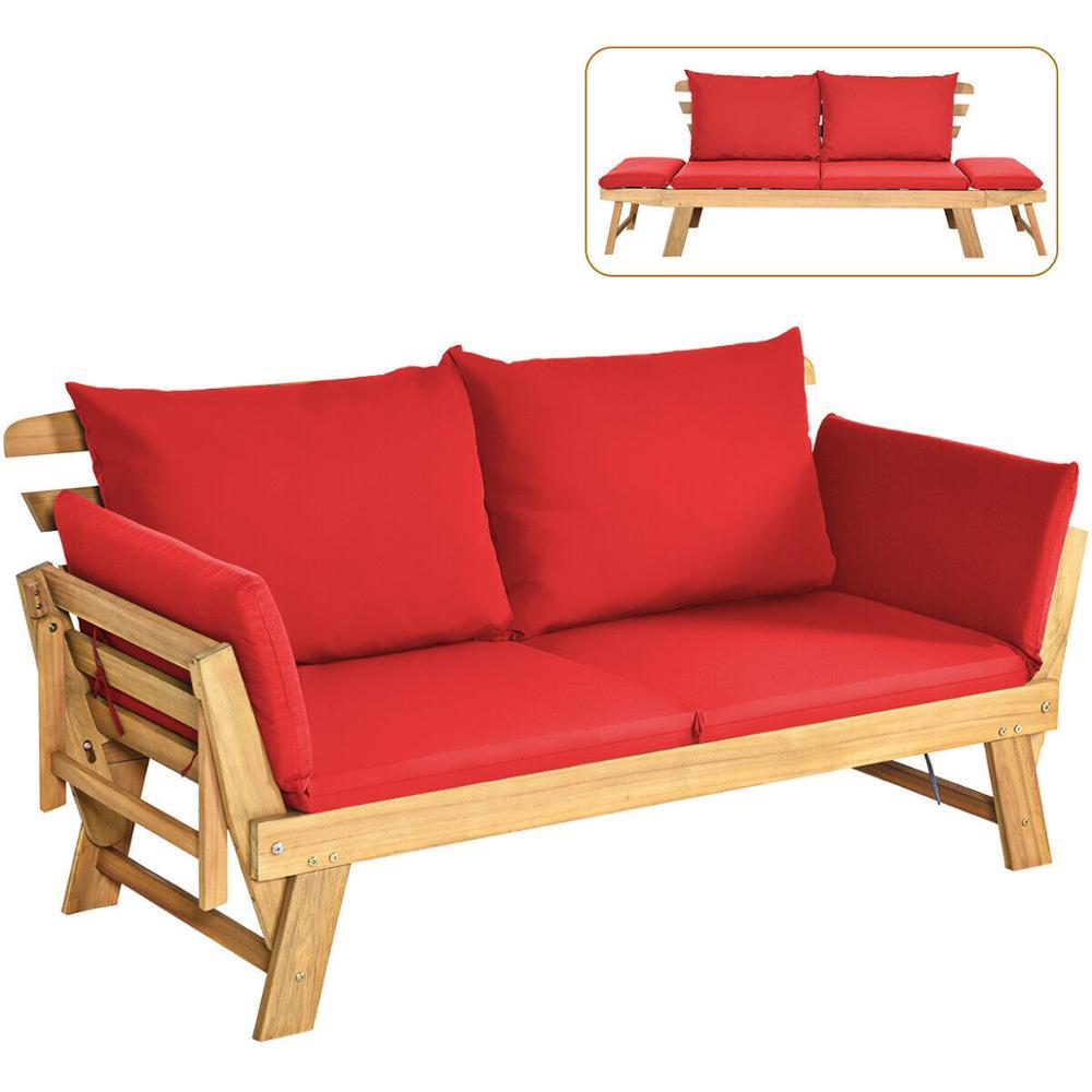 الباحة للتحويل أريكة سرير النهار خشب متين قابل للتعديل الأثاث وسادة سميكة OP70607
