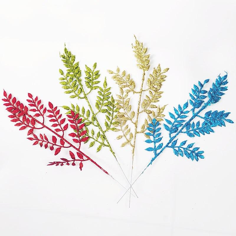 Ouro prata glitter bling ramos de flores artificial grama seca dourado folha de oliveira flores decorações de natal para casa