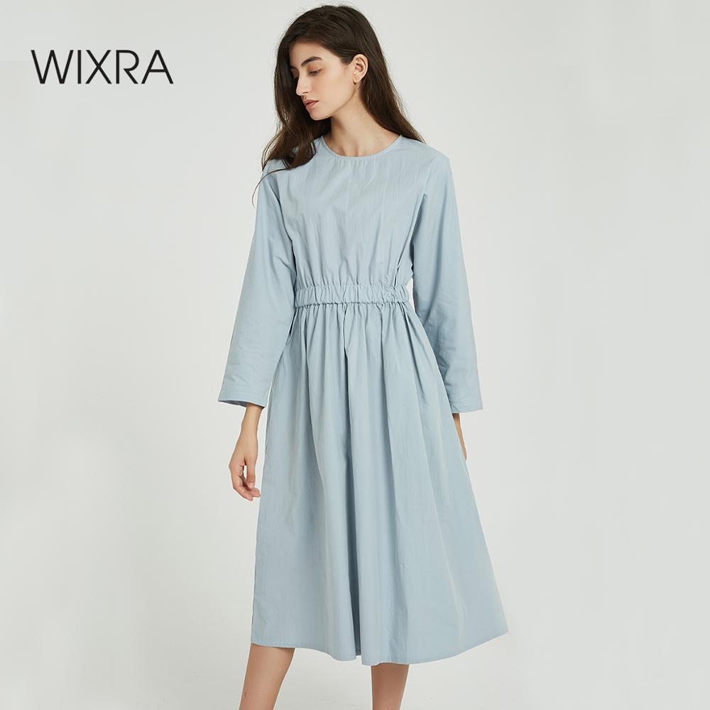 Wixra Women Solid Dresses Elegant Loose O Neck Elastic Waist Mid-calf Womens Zipper Cotton Dresses 2019 Autumn Spring