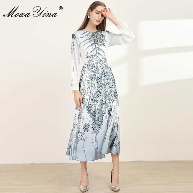MoaaYina Fashion Designer dress Spring Summer Women's Dress Long sleeve Floral-Print Slim Long Dresses