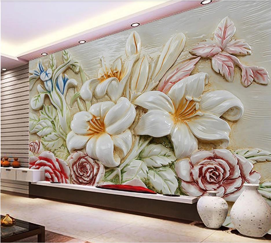 Papel pintado con paisaje 3d papel mural de alivio de flores Fondo decoración interior de pared mural decoración en relieve pintura