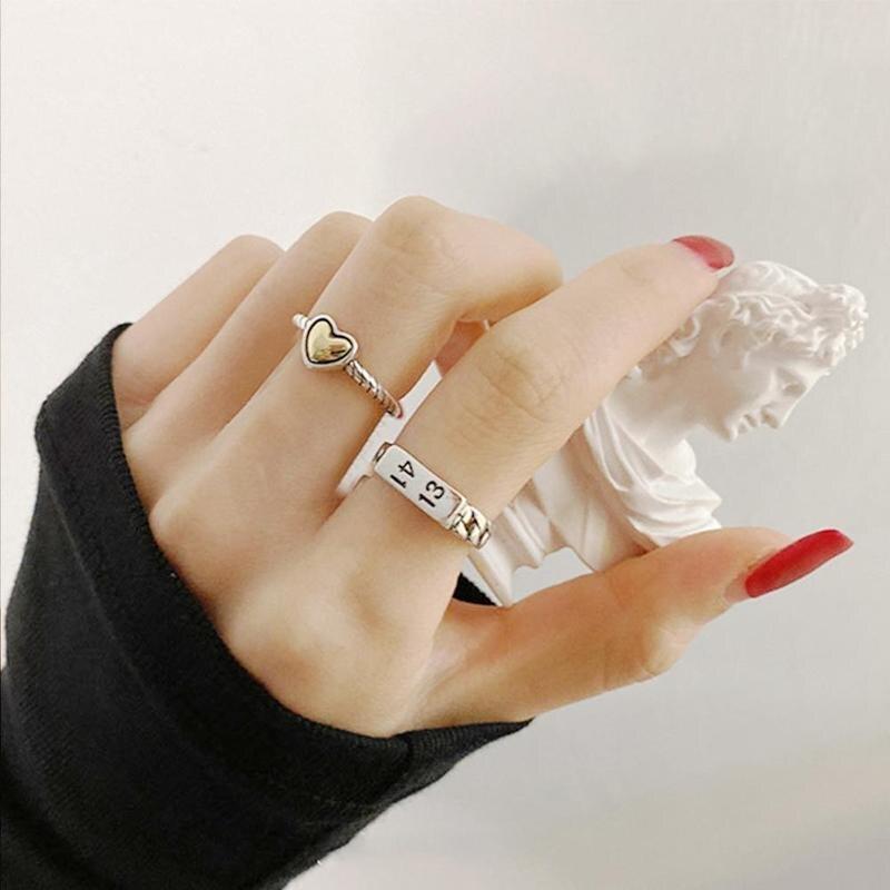 Prata amor coração anéis para as mulheres nova moda criativa 1314 digital thai prata festa de aniversário jóias presente