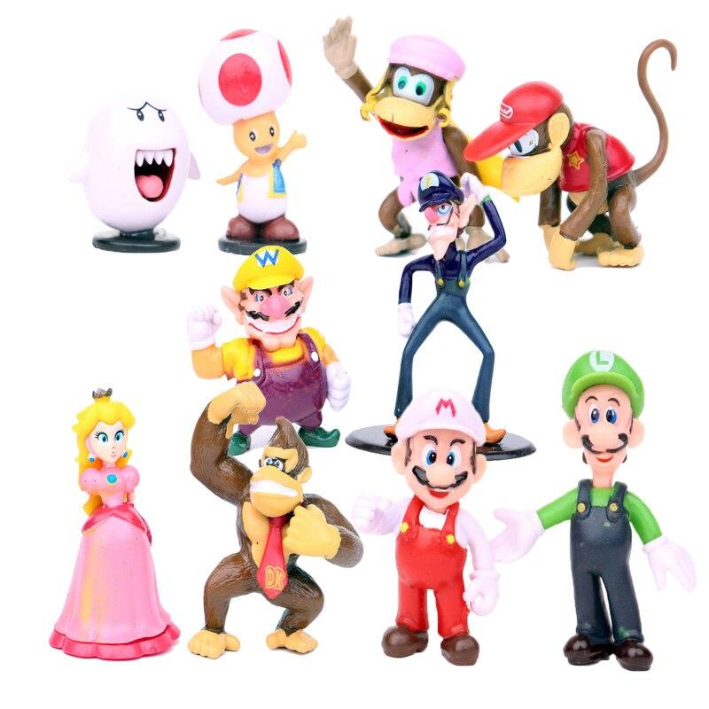 10Pcs/Set Super Mario Figures Luigi Toad Princess Peach Donkey Kong Diddy Kong Ghost Boo Wario Waluigi Model Toys