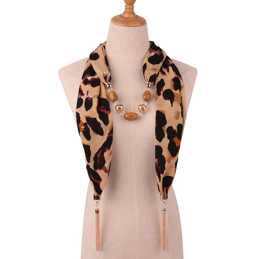 Feminino cobra leopardo impressão contas borla pingente colar cachecol chiffon xale