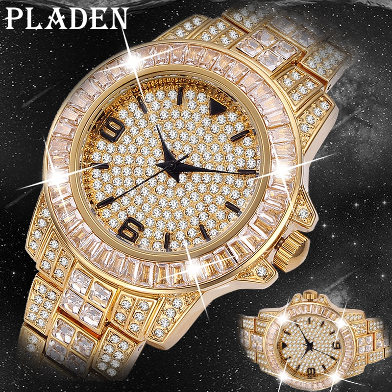 2021 New Men's Watch Top Luxury Brand Quartz 18K Gold Zircon Watches Hip Hop Ice out Bling Orologio Uomo For Gifts With Box