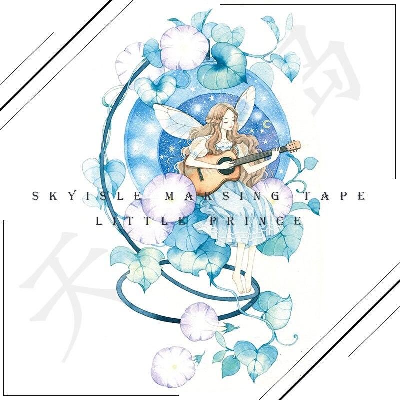 Cinta Washi para chica con flores, papel especial con forma de bala de aceite, Washitap, flores azules, decoración de pegatinas para manualidades