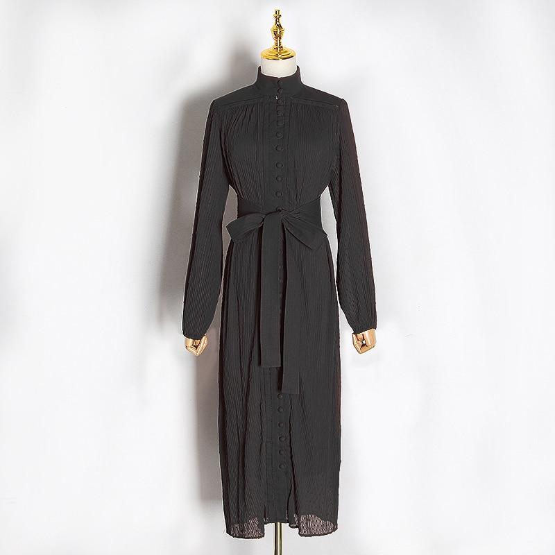 VGH Encaje Vintage Up Bowknot vestido de mujer Stand Collar linterna manga alta cintura Casual Midi Vestidos Mujer 2020 ropa de moda