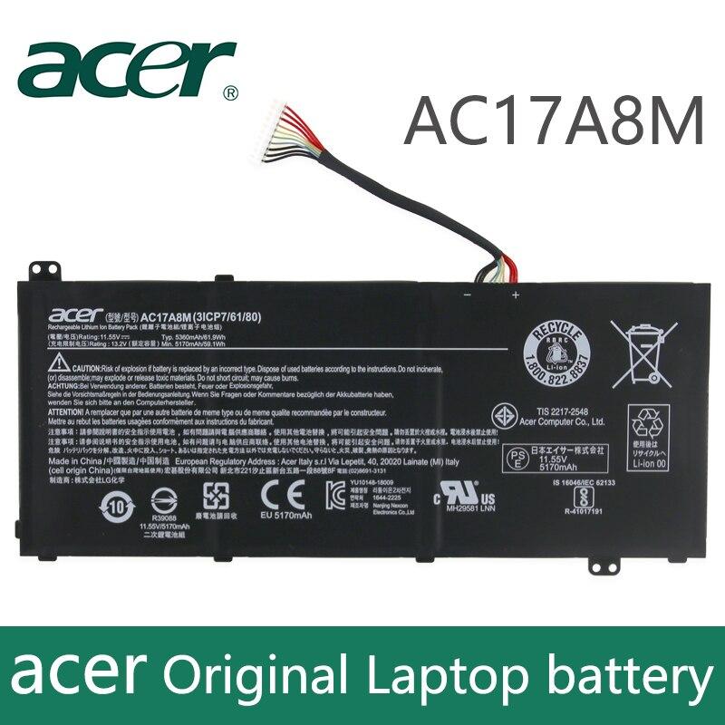 Oryginalny Laptop bateria do acer 3ICP7 Spin SP314 SF314 AC17A8M 11.55V 5360mAh 61.9Wh