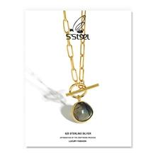 S'STEEL Korean Necklaces For Women 925 Sterling Silver Designer Luxury Labradorite Pendants Necklace