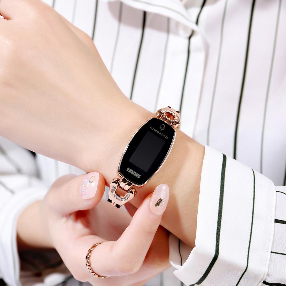 SKMEI LED Touch Women Watches Fashion Diamond Slim Digital Women Wristwatches Stainless Steel Strap Waterproof reloj mujer 1588 enlarge