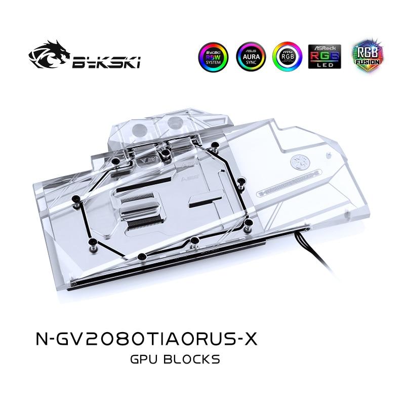 Bykski Water Block use for GIGABYTE AORUS GeForce RTX2080TI 11G / Full Cover Copper Radiator Block / RGB Light support AURA SYNC