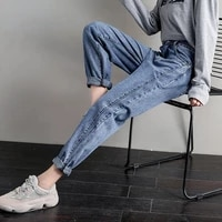 harlan jeans women loose spring autumn wear 2021 plus size stretch high waist daddy pants trousers mom cargo 4xl