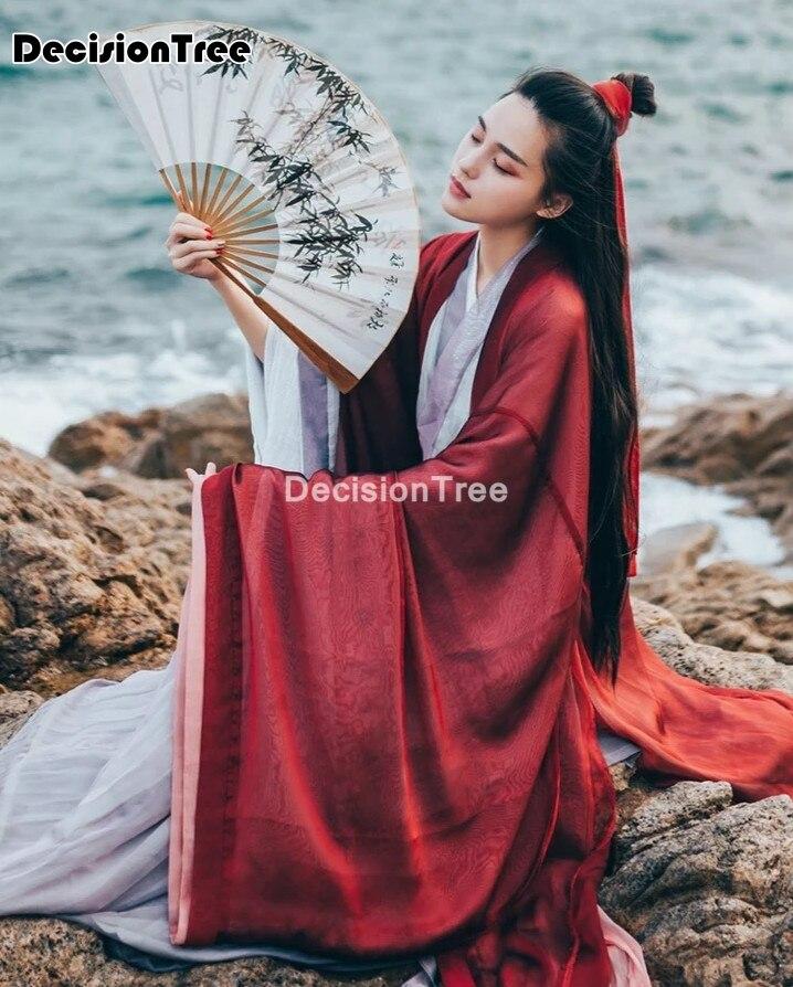 فستان hanfu الصيني التقليدي للنساء ، ملابس صينية تقليدية بأكمام كبيرة ، ملابس صينية عتيقة صلبة ، ملابس رقص شعبية صينية 2021