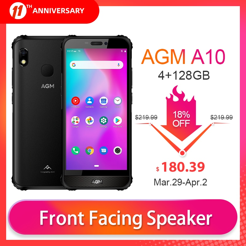 OFFICIAL AGM A10 4GB 128GB Smartphone NFC Mobile Phone IP68 Waterproof Rugged Phone 5.7