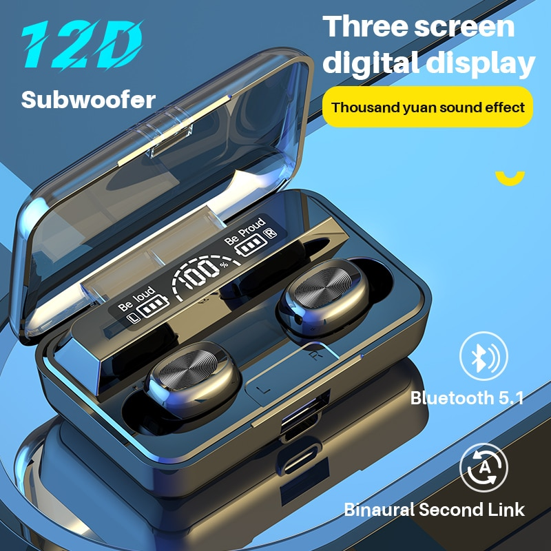 TWS Bluetooth 5.1 Mini Wireless Headphones Low Latency Gaming Headset HD LED Noise Cancell Smart Tou