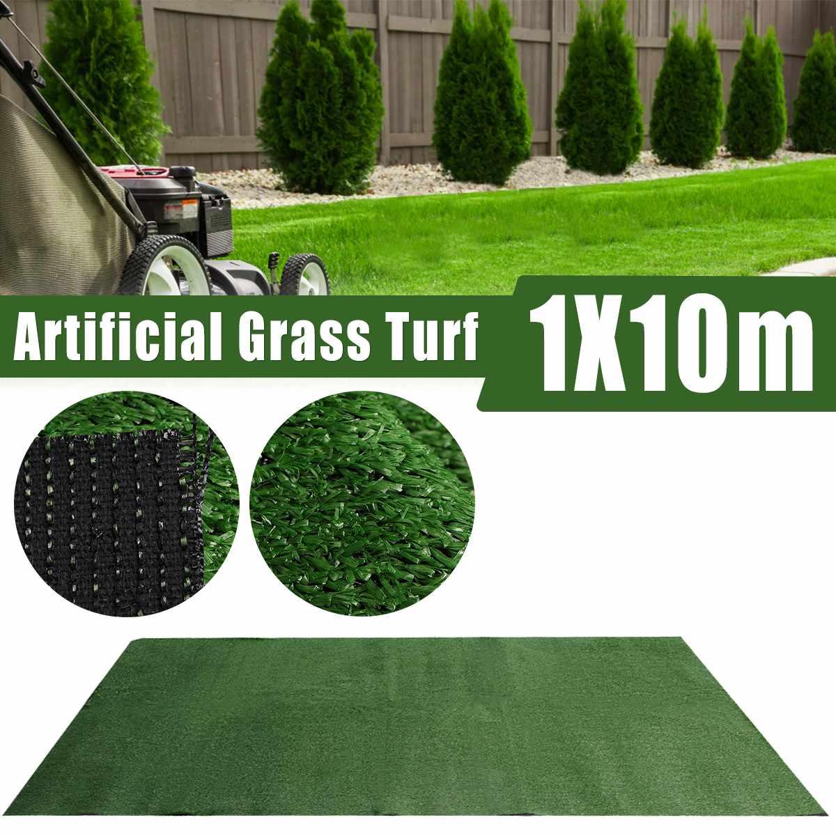 1x10M 인공 합성 슈퍼 조밀 한 가짜 잔디 잔디 플라스틱 녹색 식물 잔디 정원 장식