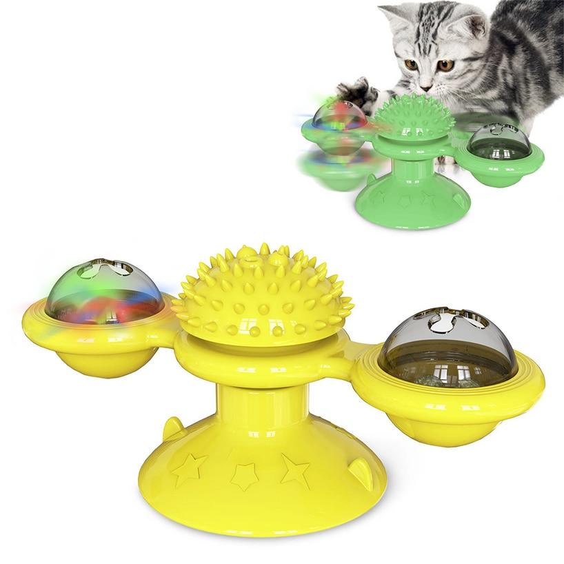 Molino de viento de juguete para gatos, rompecabezas giratorio con cepillo, juego de gatos, juguete interactivo para gatos, juguetes suministros para mascotas