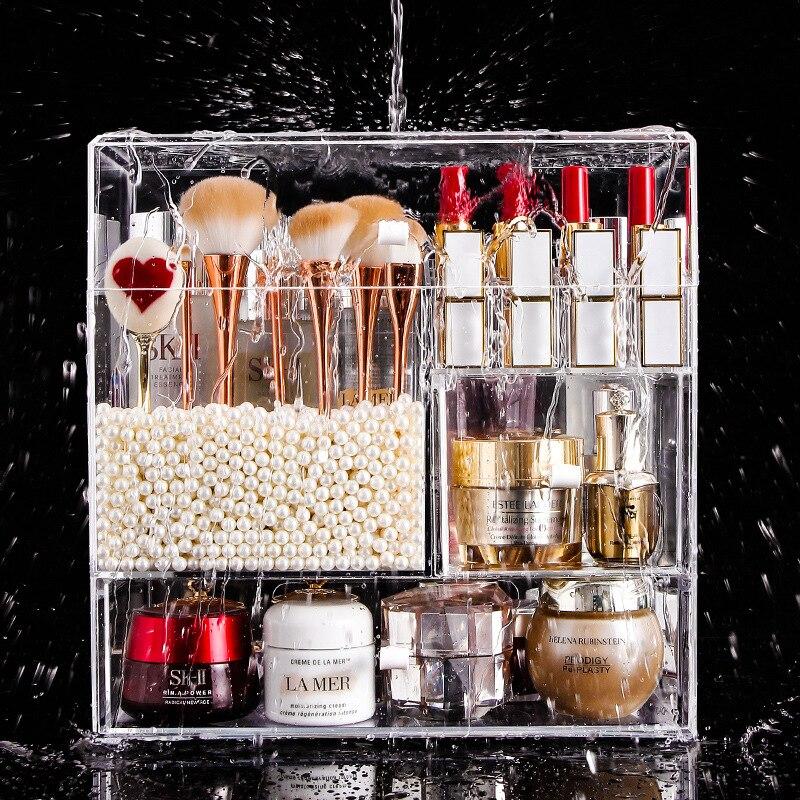 رف شفاف لتخزين مستحضرات التجميل ، صندوق تخزين أكريليك للاستخدام المنزلي ، مقاوم للغبار ، لأحمر الشفاه ، على شبكة الإنترنت