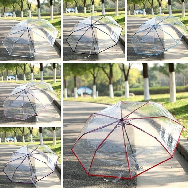 Прозрачный складной зонт-карандаш, Модные прозрачные пластиковые зонты для мужчин, женщин, студентов, портативный уличный зонт, зонтик