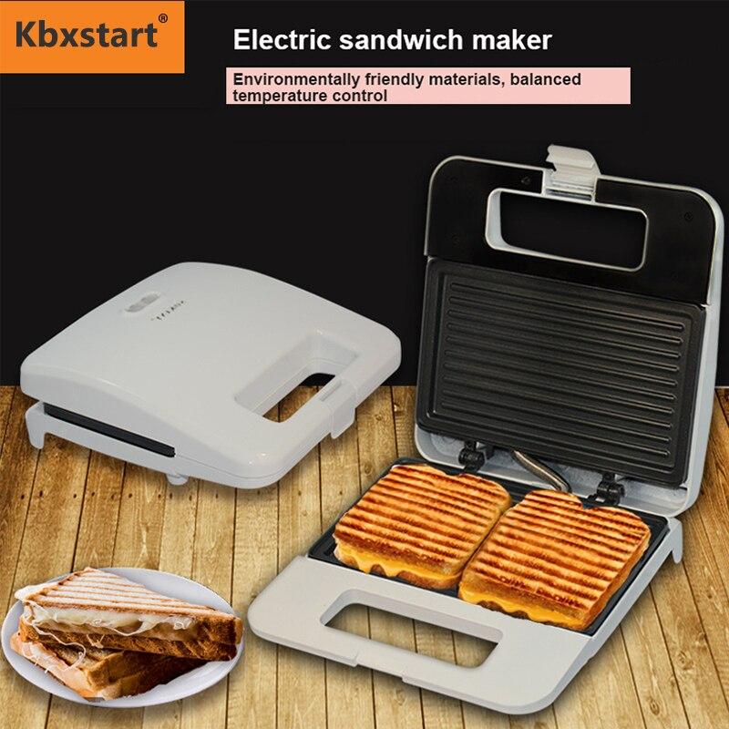 Kbxstart صانع الساندوتشات الكهربائية المنزل بانيني الإفطار آلة 2 قطعة من محمصة درجة حرارة ثابتة غير عصا طلاء 220 فولت
