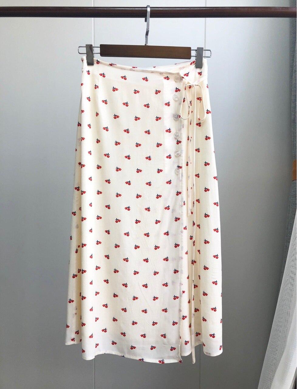 2019 nueva falda elegante de Jupe para mujer con Estampado de cereza francesa de cintura alta falda fresca Midi