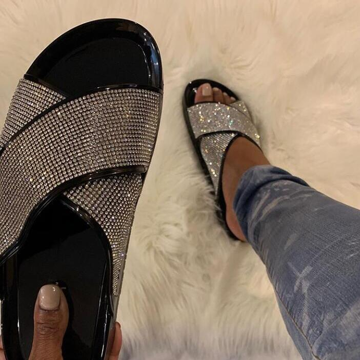 Litthing, sandalias de verano con plataforma de diamantes brillantes para mujer, chanclas, moda para actividades al aire libre, zapatillas perezosas con hebilla de diamantes de imitación 2020