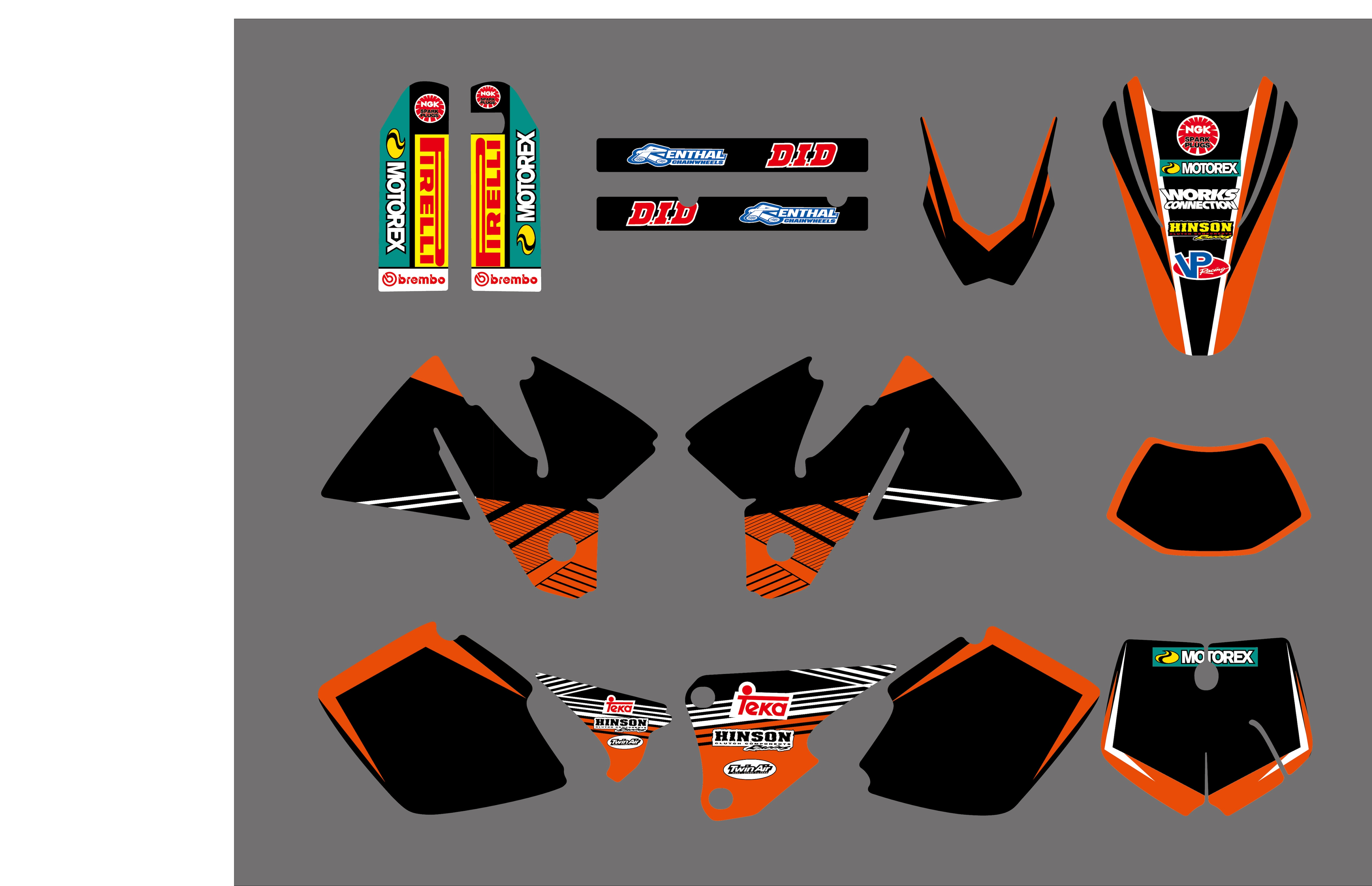 NEW TEAM GRAPHICS WITH MATCHING BACKGROUNDS DECALS DECO FOR KTM EXC 125 200 250 300 380 400 1998 1999 2000 MOTORCYCLE