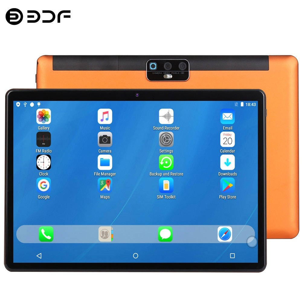 2021 Newest BDF Tablet Pc 10.1 Inch Android 9.0 Octa Core Google Play 4G Network LTE Phone Call GPS WiFi Tablets Dual Camera