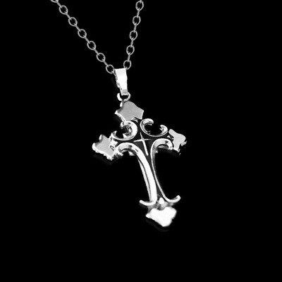 Collar cruzado para hombres oro bizantino plata Cadena de acero inoxidable colgante crucifijo católico hombre Punk Rock ornamentos