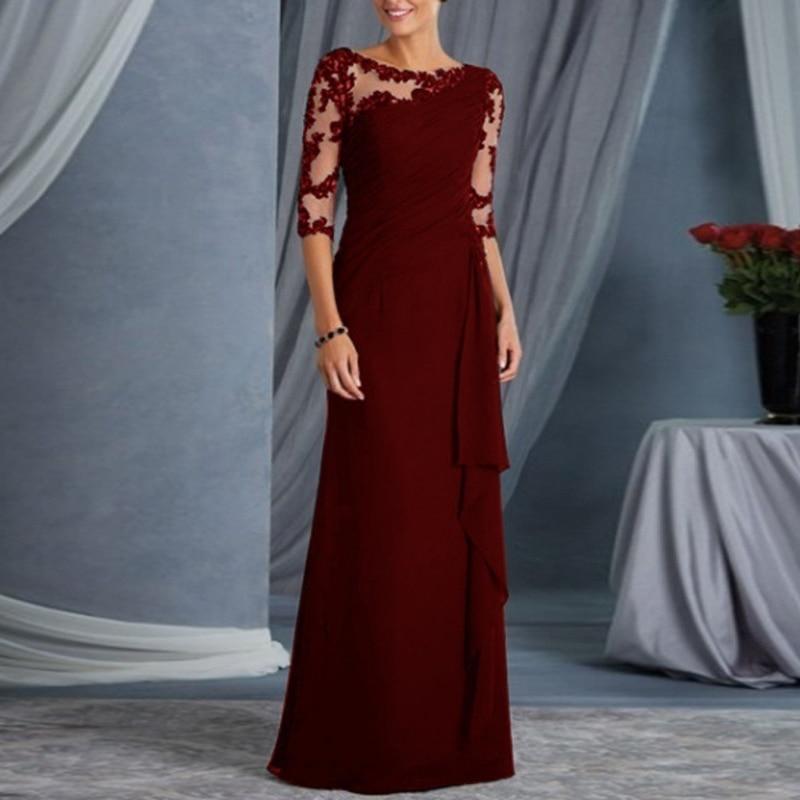 فستان سهرة أنيق من Tromlfz موديل 2021 للسيدات برقبة على شكل حرف O بنصف كم لحفلات الزفاف فيستدو