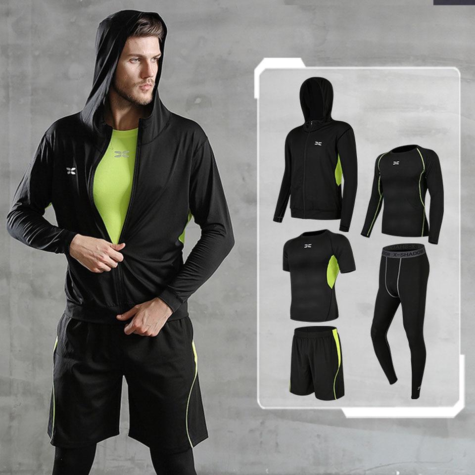 5 шт./компл. мужской спортивный костюм спортивная тренировочная компрессионная одежда для бега для гольфа спортивная одежда упражнения тре...