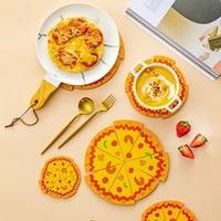 creative pizza shape table mat pvc kitchen pot bowl pads mats household cup coaster heat insulation pads decoration mat