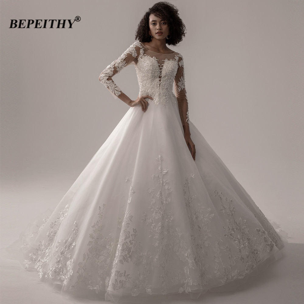 BEPEITHY-فستان زفاف من الدانتيل ، فستان سهرة ، كرة ، أميرة لامعة ، أكمام طويلة ، عاجي ، للعروس ، مجموعة جديدة ، 2021