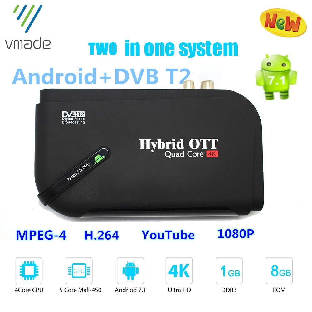 Android 7.1 TV Box DVB T2 digital receiver Terrestrial Receive Smart Media Player Amlogic S905D DVB T2 decoder  KIII Set top box