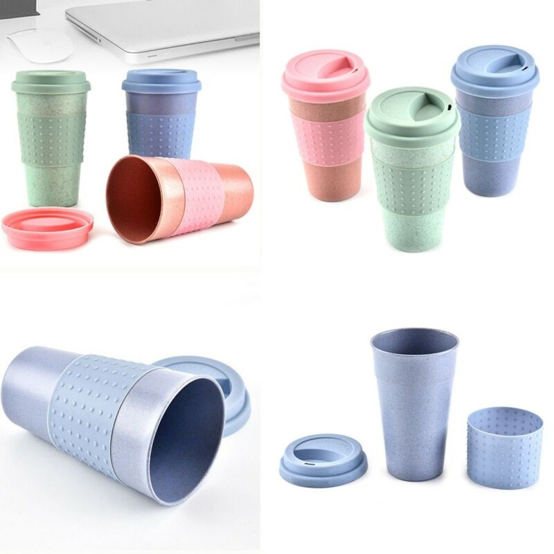 Canecas de café amigáveis do curso de eco dos copos de ecofee da fibra de bambu reusáveis com tampa do copo do silicone