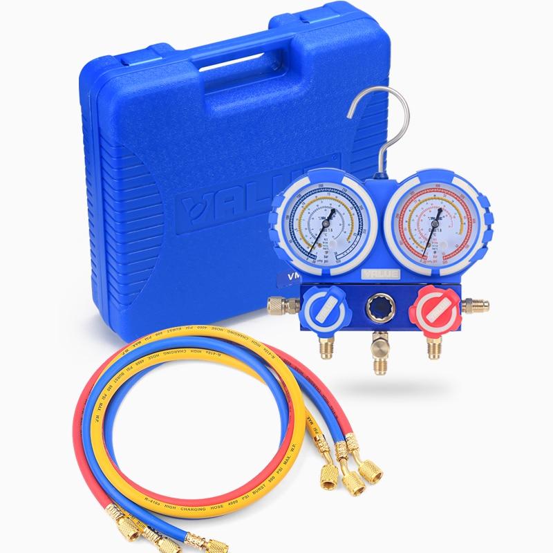 R22 R410A R134A منع الاصطدام تكييف الهواء الفلور متر المبردات الضغط المزدوج الجدول مقياس مع 3 قطعة السائل الأنابيب