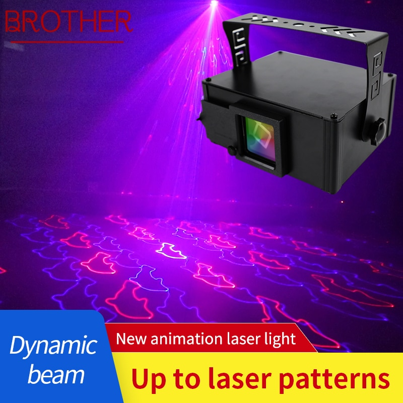 BROTHER 3D Animation Laser Light LED Flashlight Voice Control Stage Lamp with Remote Control For KTV Bar