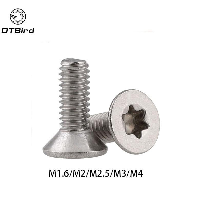 50 Uds ISO14581 GB2673 M1.6 M2 M2.5 M3 M4 Acero inoxidable A2 Torx tornillo avellanado tornillos de seguridad de máquina de cabeza plana de seis lóbulos