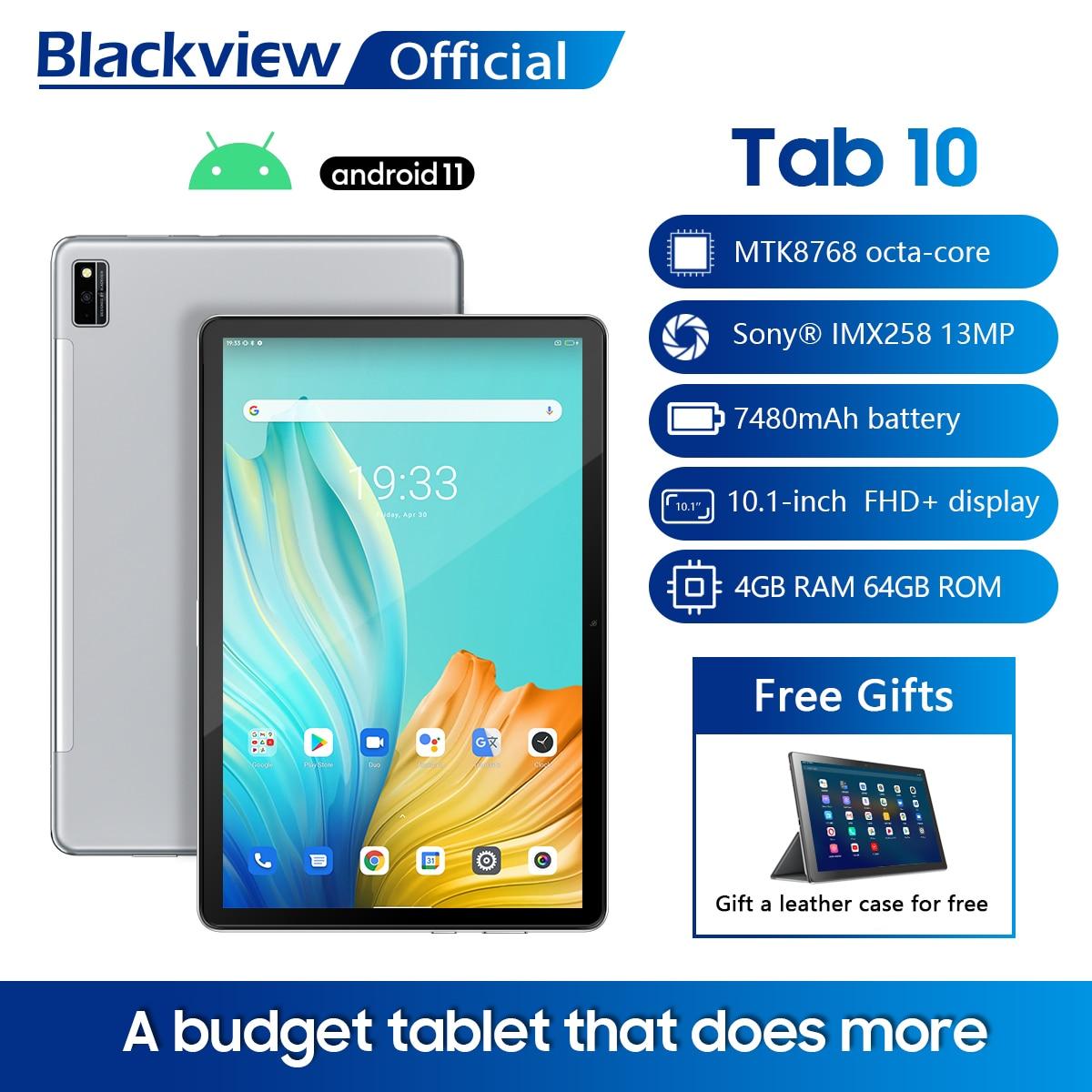 "Blackview TAB 10 Android 11 Tablet 10.1"" MTK8768 Octa Core 1920x1200 4GB RAM 64GB ROM 4G Network 7480mAh Tablets PC Dual Wifi"